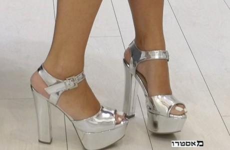 """מאסטרו נעלי כלה דגם אושרית כסף מראה 15 ס""""מ"""